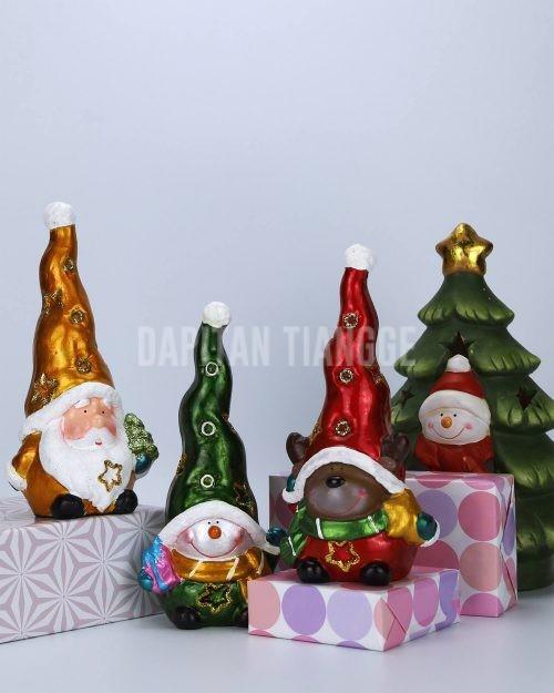 Dapitan Tiangge 3pc Santa Claus Gnome Tabletop Christmas Figure Small Christmas Decor