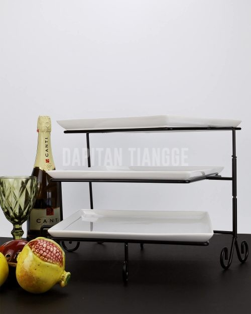 Dapitan Tiangge 3pc Square Serving Platters with Swiveling Stand