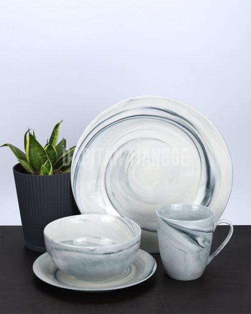 Dapitan Tiangge 4pc Marble Print Ceramic Dinner Set