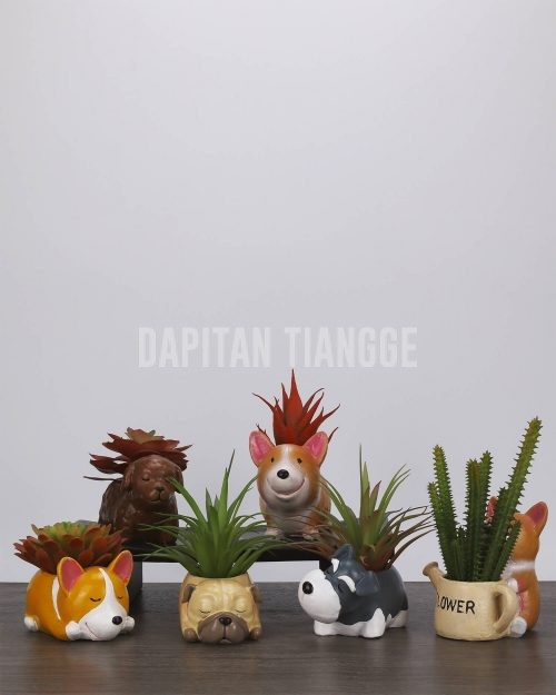 Dapitan Tiangge Adorable Puppies Mini Succulent Plant Pots Home Decor