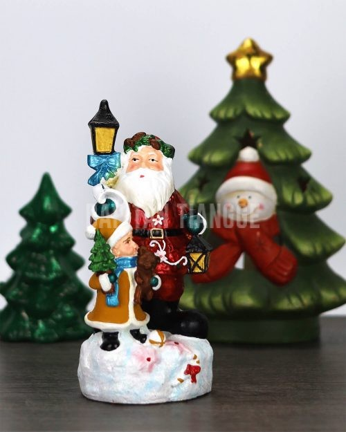 Santa and Elf Lamp Post Christmas Decor