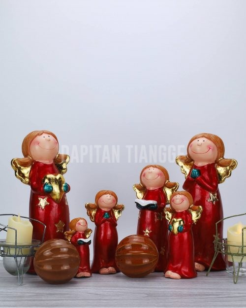 Dapitan Tiangge Set of 6 Happy Angels Figurine Christmas Home Decor