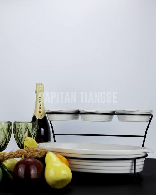 4pc Oval Baker Serving Set with Stand
